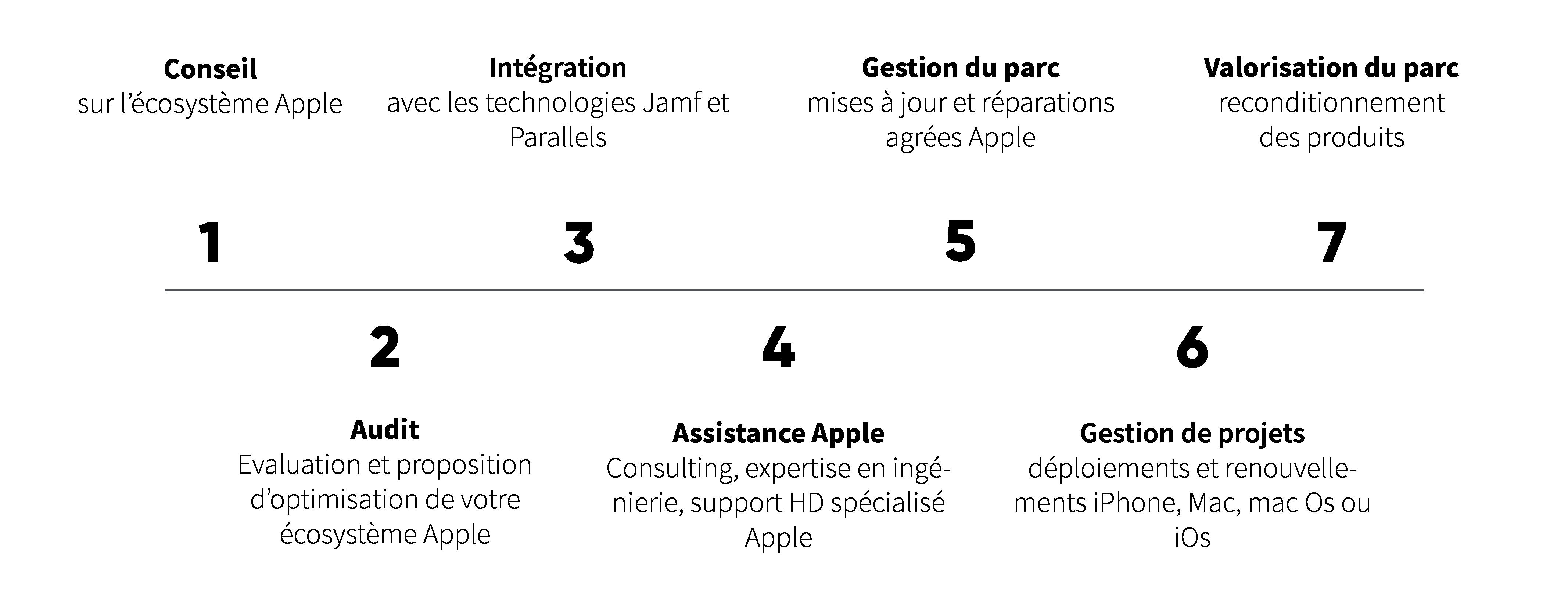Conseil, audit, intégration, assistance apple, gestion du parc, gestion de projet