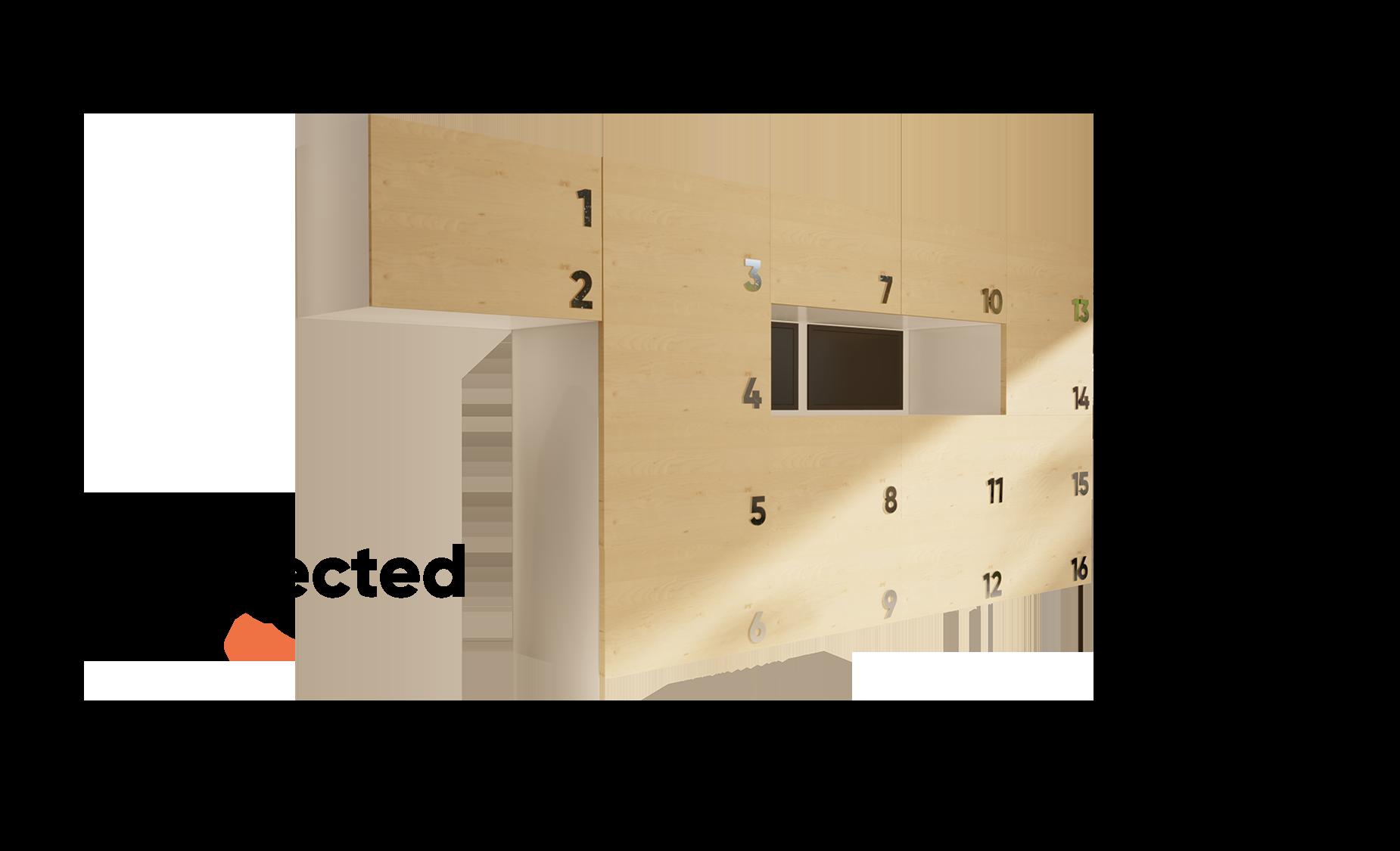 vue 3D de myConnectedWall casiers intelligents pour les entreprises